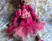 1960's Carmen Miranda paper mache head carnival doll / vintage rag doll / Hand made pink braided dress.