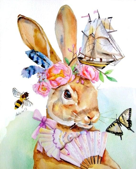 Ooak Original Rabbit And Peony Illustration Art 8 X