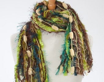 All Fringe Knotted Scarf Womens Scarves - Brown, Teal, Lime Green, Light Yellow - Cattails