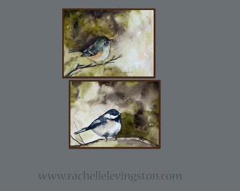Art gift under 20 Bird wall decor Bird wall art bird home decor small bird art kitchen bird art PRINT SET bird art green brown black