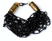 Upcycled Black Chain and Bullet Casing Statement Bracelet