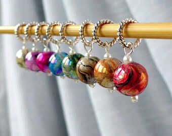 Flying Colors of the Storm - Eight Handmade Stitch Markers - Fits Up To 6.0 mm (10 US) - Limited Edition