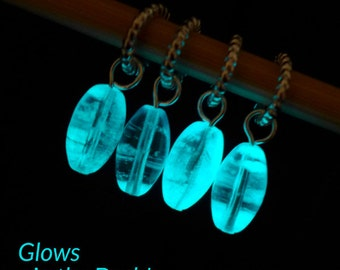 Marie Curie - Inspiring Women Series - Four Glow in the Dark Stitch Markers with Test Tube - Fits 6.0mm (10 US)