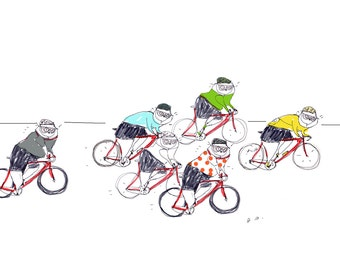 Peloton Cats - Tour de France - Bike Art - Cycling Poster - Cat Dad Gift