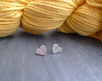 Knitted Texture Heart Stud Earrings in Sterling Silver