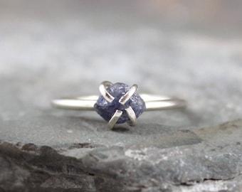 Denim Blue Sapphire Ring - Raw Blue Sapphire - Sterling Silver Rings - Stacking Ring -Blue Gemstone Ring-Raw Sapphire - September Birthstone