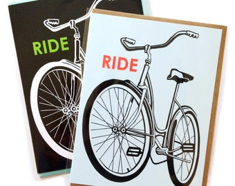 Single A2 size Bike Greeting Cards, blank inside, rad old school Ride Schwinn Bicylce design, recycled paper, made in Portland Oreogn