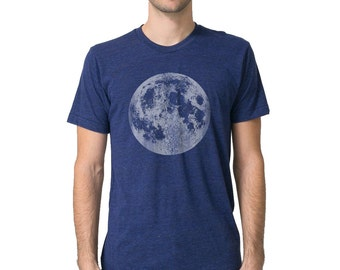 Mens Full Moon Shirt, Blue Full Moon t Shirt, Mens Moon tee, Space Graphic Tee, Astronomy t shirts, mens galaxy space t shirts blue moon tee