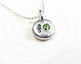 Personalized Birthstone Initial Necklace - Hand Stamped Initial Charms Set with Swarovski Crystal Birthstones