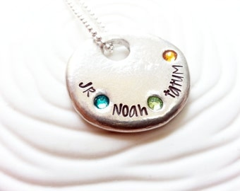 Mother's Necklace - Three Name, Personalized, Hand Stamped Birthstone Name Necklace