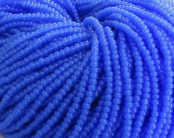 8/0 Blue Opal Czech Glass Seed Bead Strand (CW60)