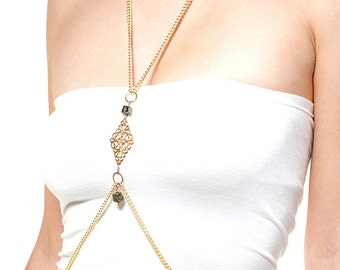 Anahata Gold Body Chain with crystals over heart chakra