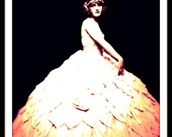 Girl in Petal Satin Wedding Gown - Enhanced Art Print of Vintage Photograph - Roaring 20s- Bridal Wall Art