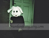 Halloween Decor, Rabbit Mask Holga Print, Creepy Bunny Photography Print