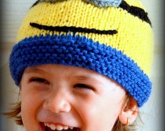 Knitting Pattern For Minion Beanie : Baby Minion Hat, Newborn Minion Beanie, Knitted Minion Cap, Earflap minion ha...