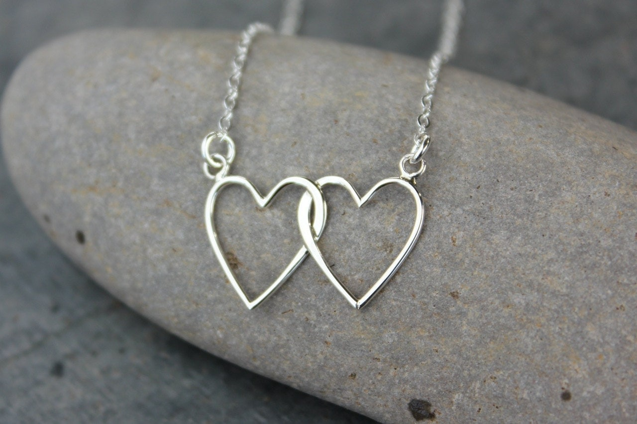 2 Hearts Intertwined Necklace sterling silver hearts and