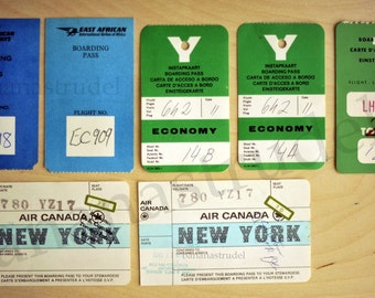 1970s Set of 7 Vintage Boarding Passes - KLM - East African Airways - Air Canada - Travel / Aviation