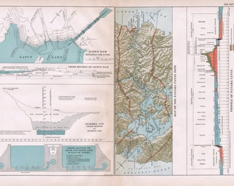 1911 Century Atlas Map of the Panama Canal Zone