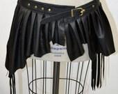 Bizarre Boudoir Belted Leather Tribal Fusion Burning Man Bohemian Warrior Pixie Skirt with Fringe BLACK Medium Length