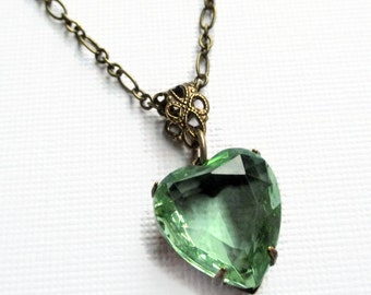 Crystal Heart Necklace - Peridot Green Necklace - Jewelry Gift Under 25 - HEARTSONG Peridot
