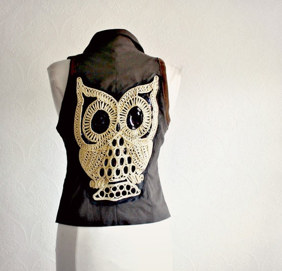 Women's Owl Vest Dark Brown Upcycled Clothing Green Plaid Gold Buttons