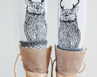 Wild Catalope Leggings - Grey and Black - by Simka Sol