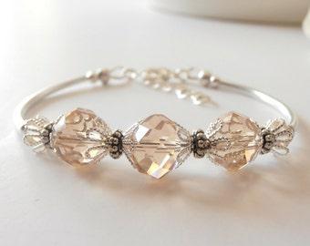Light Champagne Crystal Bridesmaid Bracelets
