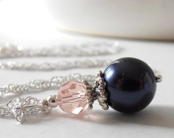 Navy and Pink Bridesmaid Necklaces Pearl Pendant Necklace Navy Blue Wedding Jewelry Sets Pearl and Crystal Bridesmaid Jewelry 16 or 18 inch