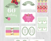 Mother's Day, Birthday, Easter, Floral Flowers Birthday Printable DIY Party Package by MayDetails: Full Collection Party Kit