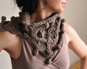 Texture irish cable hand knit neckwarmer knitted cowl wrap chunky scarf snood - Heard It Through The Grapevinein taupe or CHOOSE YOUR COLOR