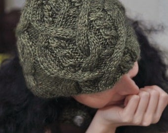Celtic Heart hat - hand knit cable luxurious alpaca wool beanie unisex knitted hat fern green sage green or CHOOSE YOUR COLOR
