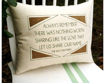 The Avett Brothers, Murder In the City- Customizable Lyric Pillow