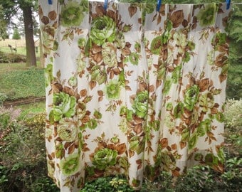 "SALE Vintage Cafe Size Curtains Trailer Curtains Rubber backed Curtains Green Brown Flowers  32""  long EIGHT AVAILABLE"