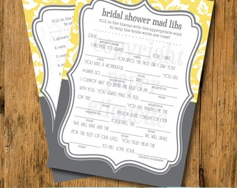 INSTANT UPLOAD Bridal Shower Game Mad Libs - Gray and Yellow Wedding Shower Game-Bachelorette Game, Bride Shower Game, Yellow Wedding Shower