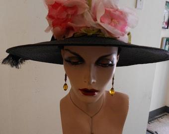 "1950"" 22"" head size, finely woven black pin wheel straw hat"