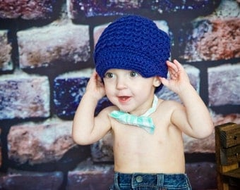 Crochet Hats for Toddler, Boy's Beanie Hat, Crochet Visor Beanie, Toddler Newsboy Hat, Crocheted Hat, Navy Blue, MADE TO ORDER
