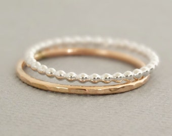 Rose Gold Ring and Sterling Silver Ring 2 thin stacking rings rose gold jewellery australia