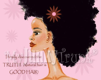 1/2 Price OVERSTOCK Sale- Good Hair-African American Natural Hair Black Woman Art Afro Print