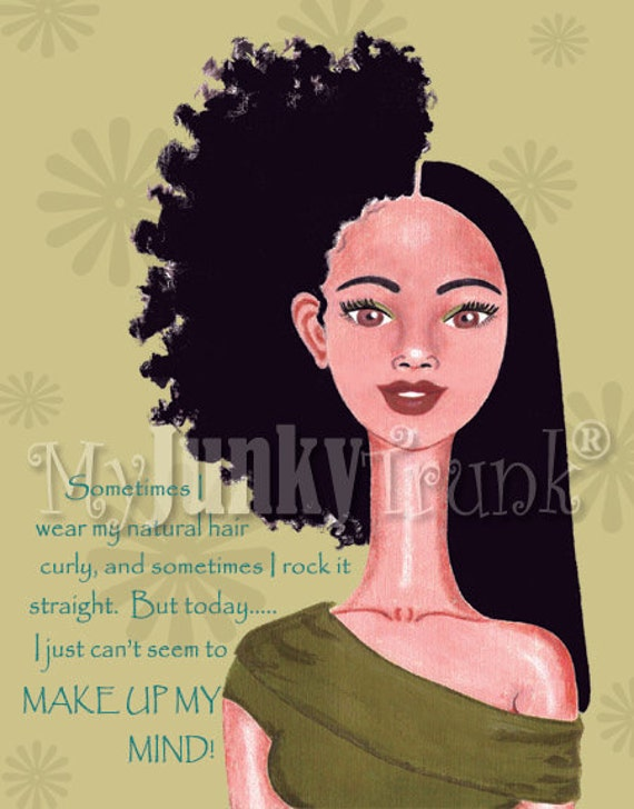 1/2 Price OVERSTOCK Sale- Indecision- African American Art Natural Hair Art Black Woman Art Afro Print