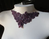 Venise Lace Applique in Plum with Beadwork for Altered Couture, Jewelry or Costume Design CA 755