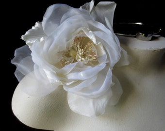 Ivory Silk Rose Velvet and Organdy Millinery for  Bridal, Sashes, Hats, Corsages MF101