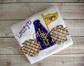 Megaphone and PomPoms Personalized Appliqued Ruffle T-shirt  for Girls, LSU, Saints or YOUR team