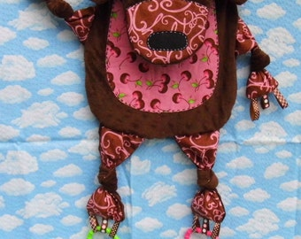 Upcycled Critter Chocolate Bear Baby Activity Blanket