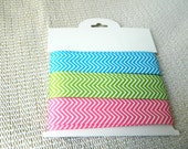 Chevron Ribbon: 7/8 inch 22 mm grosgrain zigzag printed ribbon by the yard sold in Turquoise blue, Apple Green, or  Hot Pink, craft supplies
