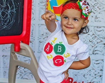 ABC 123 Back-to-School T-shirt, Appliqued Back to school shirt, first day of school shirt, LDM