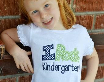 I Rock Preschool, Kindergarten, 1st, 2nd, 3rd or 4th Grade, Appliqued T shirt, Back-to-School Shirt, First Day of School Shirt, LDM