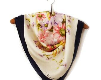 """Great Vintage Flower Pattern SCARF """"Vanessa"""" brand-Pure Silk"""
