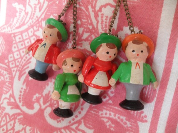 Vintage Miniature Wooden Toy People Pin Crafts, Jewelry Christmas Ornaments 2 Sets