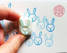 baby rabbit stamp. rabbit hand carved rubber stamp. woodland animal stamp. easter diy projects. craft with children