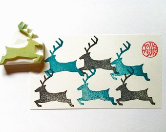 reindeer silhouette stamp. deer hand carved rubber stamp. woodland animal stamp. winter christmas gift wrapping. card making. diy projects